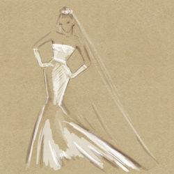 Skizze eines Brautkleides im Meerjungfrau-Schnitt